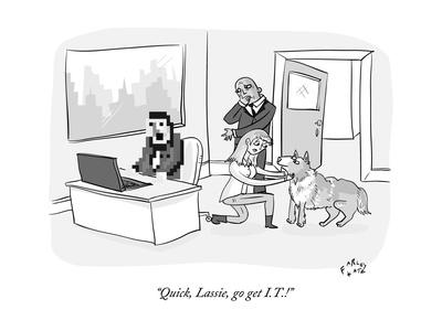 """Quick, Lassie, go get I.T.!"" - New Yorker Cartoon Giclee Print by Farley Katz"