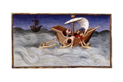 The Mongol fleet struck by storm at sea, from 'Le Livre des Merveilles', c.1410-12 Giclee Print by  Boucicaut Master
