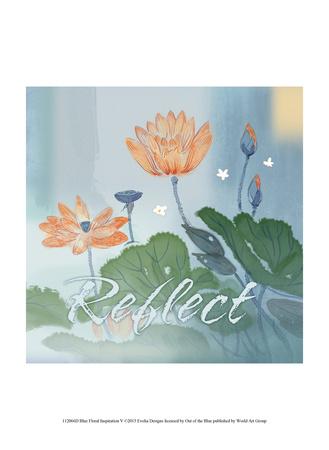 Blue Floral Inspiration V Prints by Evelia Designs
