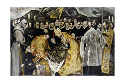Burial of the Count of Orgaz. Detail: Dead Body Held by Prelates, 1586 Giclee Print by  El Greco