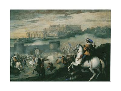 Battle in Castel Sant'Elmo, Naples Giclée-tryk af Aniello Falcone