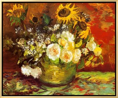 Vase of Flowers Framed Canvas Print by Vincent van Gogh