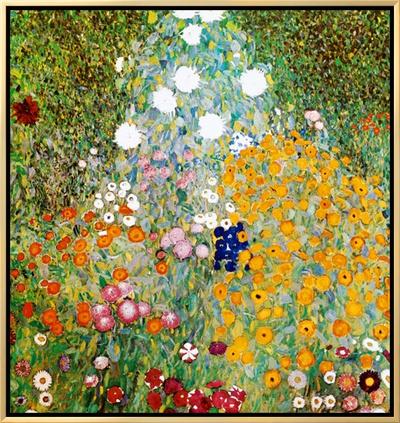 Flower Garden Framed Canvas Print by Gustav Klimt