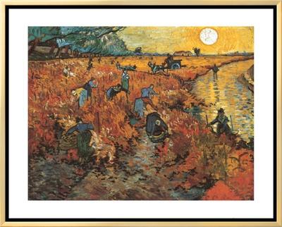 The Red Vineyard at Arles, c.1888 Framed Canvas Print by Vincent van Gogh