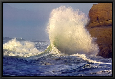 Perseverance: Crashing Wave Framed Canvas Print by Craig Tuttle
