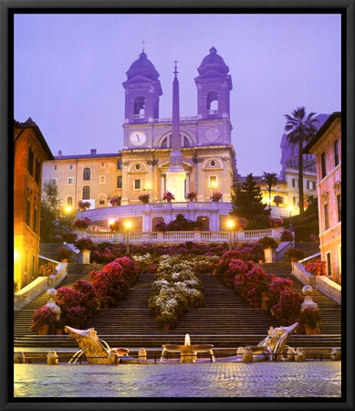 Piazza di Spagna - Rome Framed Canvas Print by John Lawrence