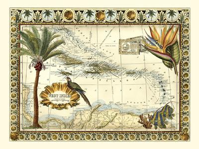 Tropical Map of West Indies Plakater af  Vision Studio