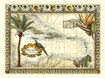 Tropical Map of West Indies Print by  Vision Studio