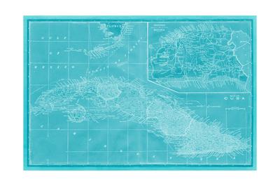 Map of Cuba in Aqua Posters by  Vision Studio