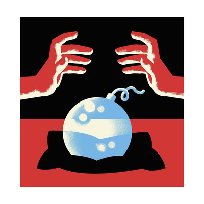 A crystal ball is a bomb - Cartoon Giclee Print by Christoph Niemann