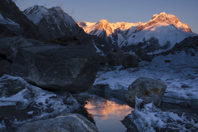 Sunlight Shines on the Top of the Gangotri Glacier, the Main Source of the Ganges River Photographic Print by Pete McBride