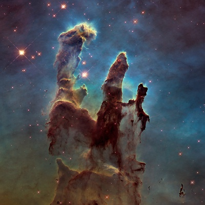 Images of the 'Pillars of Creation' in the Eagle Nebula Fotografie-Druck