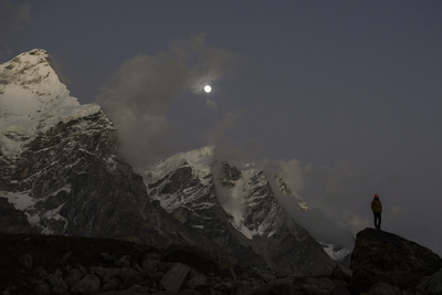 The Bhagirathi Peaks Loom under a Full Moon Above the Gangotri Glacier Photographic Print by Pete McBride