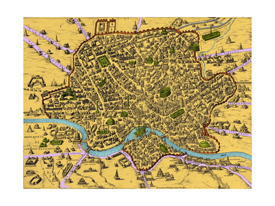 Map of Rome, 1500s Prints by  Science Source