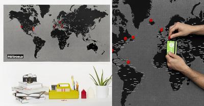 PinWorld Wall Map Diary - Standard - Black Originalt