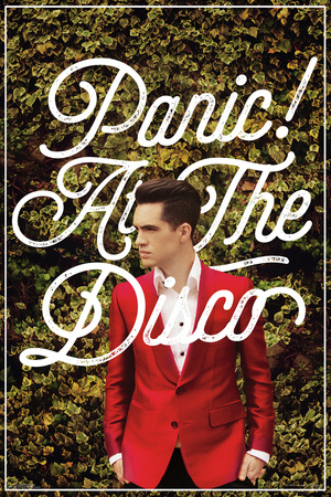 Panic! At the Disco red suit and green ivy background poster covert photo art