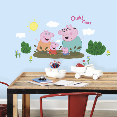 Peppa Pig - Family Muddy Puddles Peel and Stick Giant Wall Decals Wall Decal