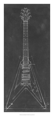 Electric Guitar Blueprint I Giclee Print by Ethan Harper