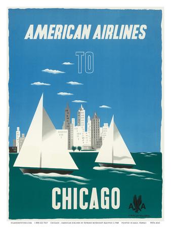 Chicago, Illinois USA - The Windy City, Sailboats, Lake Michigan - American Airlines Posters av Edward McKnight Kauffer