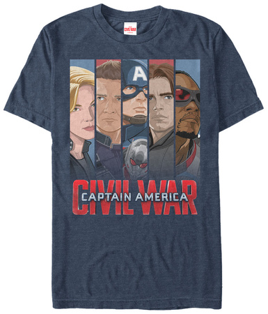 Captain America Civil War- Team Cap Panels Shirts