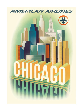 Chicago Skyline - American Airlines Premium Giclee Print by Henry K. Bencsath