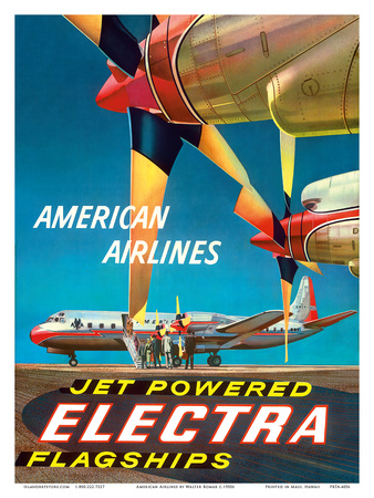 American Airlines - Jet Powered Electra Flagships - Lockheed L-188s Print by Walter Bomar