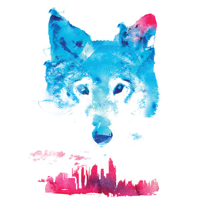 Robert Farkas- Fox And City Print by Robert Farkas