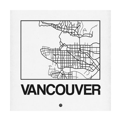White Map of Vancouver Prints by  NaxArt