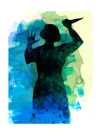 Psycho in the Shower Watercolor Posters by Lora Feldman