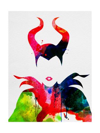 Maleficent Watercolor Print by Lora Feldman