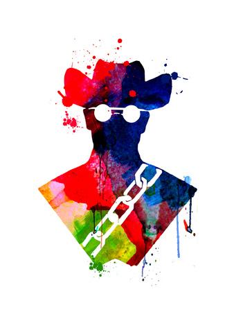 Django Watercolor Poster von Lora Feldman