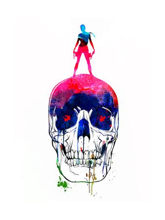 Lara and the Skull Watercolor Art by Lora Feldman