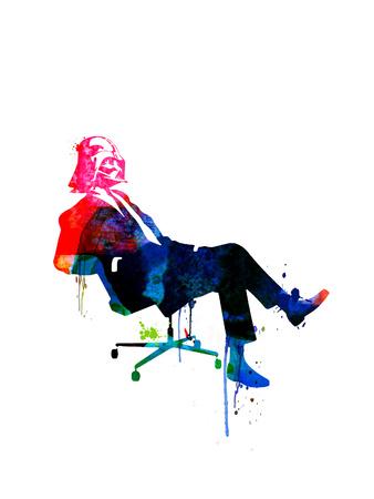 Darth in the Chair Watercolor Plakater af Lora Feldman