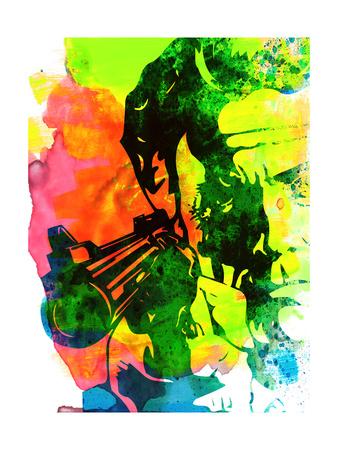 Harry with a Gun Watercolor 1 Prints by Lora Feldman