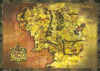 Lord Of The Rings- Middle Earth Map Kæmpe plakat
