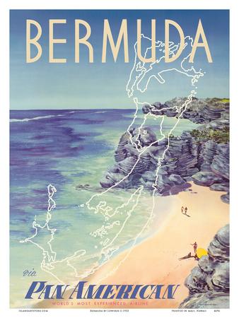 Bermuda - via Pan American World Airways Prints by  Loweree