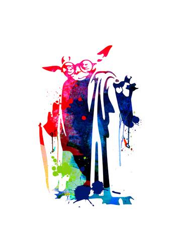 Yoda Wearing Classes Watercolor Posters by Lora Feldman