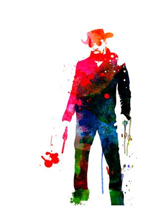 Django with a Gun Watercolor Posters by Lora Feldman