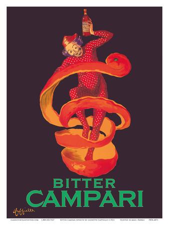 Bitter Campari Aperitif - Clown Wrapped in Orange Peel Posters by Leonetto Cappiello