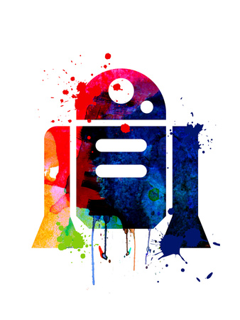 R2-D2 Cartoon Watercolor Plakater af Lora Feldman