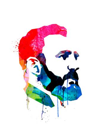 Fidel Castro Watercolor Posters by Lora Feldman