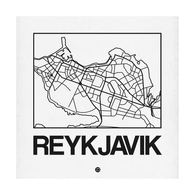 White Map of Reykjavik Prints by  NaxArt
