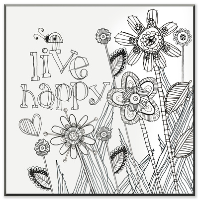 Live Happy DIY Coloring Wall Plaque Wood Sign