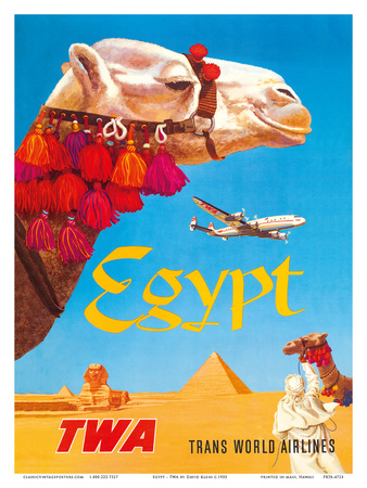 Egypt - TWA (Trans World Airlines) - Egyptian Camels, Pyramid, Sphinx Poster by David Klein