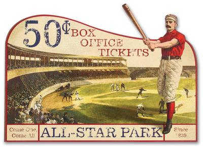 Vintage Advertising Baseball Die Cut Wood Sign