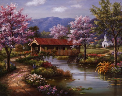 Covered Bridge in Spring Art by Sung Kim