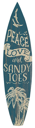 Peace Love And Sandy Toes Surfboard Plaque Wood Sign