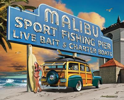 Malibu Woodie Tin Sign