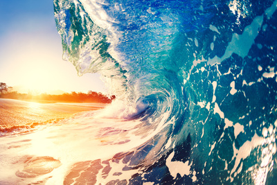 Ocean Wave at Sunrise Photographic Print by  EpicStockMedia