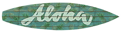 Aloha Surfboard Plaque Wood Sign